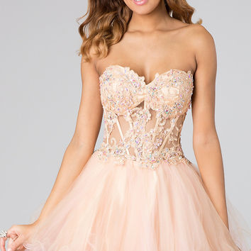 Strapless Babydoll Prom Dress