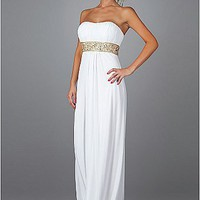 Buy discount Classic Chiffon Sheath Empire Waist Strapless White Prom Dress With Beading at dressilyme.com