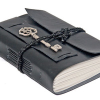 Black Faux Leather Wrap Journal with Key Bookmark