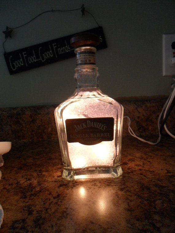 Bottle Lamp Crafted From Recycled Jack Daniels by BottleCrafters