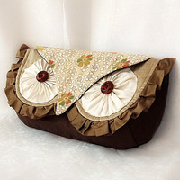 Silk Owl Clutch Bag Luxury Silk with Vintage Kimono by KichiKimani