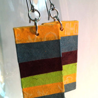 Striped Hanji Paper Dangle Earrings OOAK Striped Orange Blue Brown Hypoallergenic hooks Lightweight