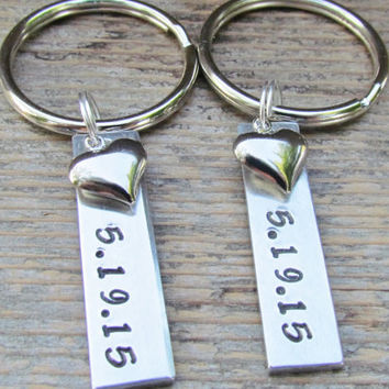 TWO Key Chains SMALL Tags Date Date Couples Hand Stamped Aluminum Metal Keychain Key Ring Wedding Anniversary Engagement Heart Charms