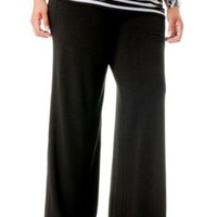 Motherhood Maternity: Plus Size Secret Fit Belly(tm) Jersey Knit Ruched Wide Leg Maternity Pants