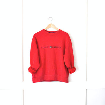 90s TOMMY HILFIGER sweatshirt / GRUNGE wardrobe staple cropped red unisex pull over jumper