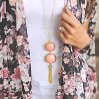 Double Stone Tassel Necklace Set - Coral
