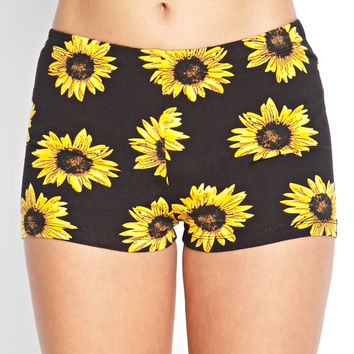Stretch Knit Sunflower Shorts