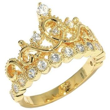 Sterling Silver Crown Ring (Yellow Gold Plated)
