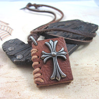 soft leather necklace crossing pendant men by braceletcool