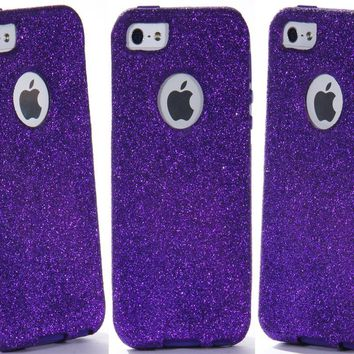 OtterBox Commuter Series Case for iPhone 5 5S - Custom Glitter Case for iPhone 5 5S - Purple/Purple