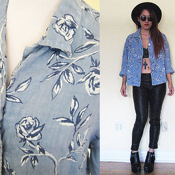 Vintage 80's jeans denim floral flower button down shirt blue rose