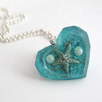 StarFish Ocean Sea Pendant. Summer Under the Deep Sea Starfish Seabed Polygon Diamond Heart shaped Resin Blue Glitters Nautical Necklace
