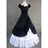 Discount Sleeveless Bowknot Ruffles Multi-Layer Black and White Gothic Victorian Dress [TQL120427084] - £64.59 : Zentai, Sexy Lingerie, Zentai Suit, Chemise
