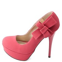 Side-Bow Platform Pumps by Charlotte Russe - Fuchsia