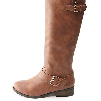 Two-Buckle Knee-High Riding Boots