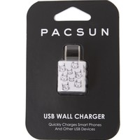 PacSun Sketched Cats USB Wall Charger - Womens Scarves - White - One