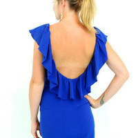 royal blue open back ruffle dress- $49.00 | Daily Chic Dresses | International Shipping