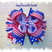 Patriotic Boutique Hair Bow  4th of July Hair bow  by MyFlowerZone