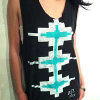 Native Handpainted Black Unisex Shirt by AlterEgoPhoenix on Etsy