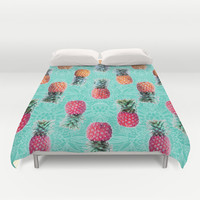 From Pineapple to Pink - tropical doodle pattern on mint Duvet Cover by micklyn