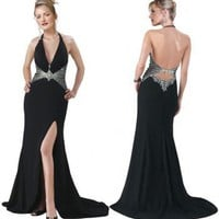 Cutting edge Halter V-neck Satin evening gown(ED0004) [ED0004] - $126.00 :