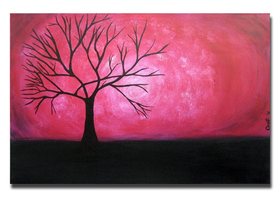 Moon Witch Magic Necklace Abstract Fantasy Rvj2: Magenta Pink Tree Large Painting Art From OritArt On Etsy