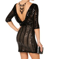 2-tone Scallop Sequin Bodycon