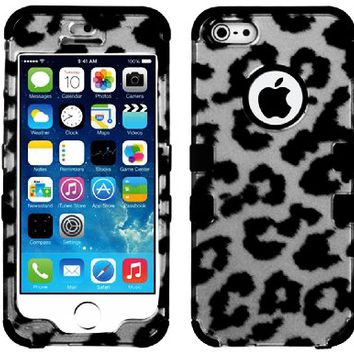 "myLife Black - Gray and Black Leopard Spots Series (Neo Hypergrip Flex Gel) 3 Piece Case for iPhone 5/5S (5G) 5th Generation iTouch Smartphone by Apple (External 2 Piece Fitted On Hard Rubberized Plates + Internal Soft Silicone Easy Grip Bumper Gel) ""Atten"