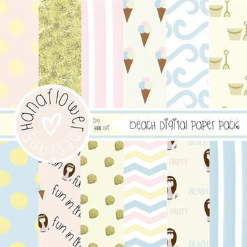 At the Beach Digital Paper Pack - 12 Digital Papers