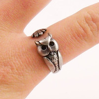 Owl Animal Wrap Ring - Silver