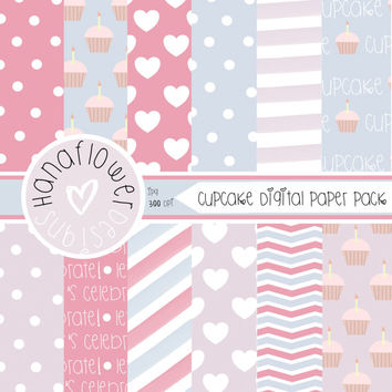 Cupcake Digital Paper Pack - 12 Digital Papers