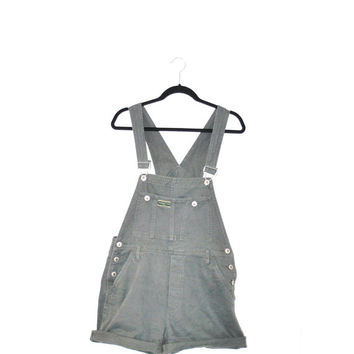 vintage overalls / GRUNGE minimal army green denim overall shorts dungarees medium