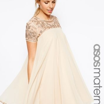 ASOS Maternity Exclusive Swing Dress With Baroque Embellishment - Nude