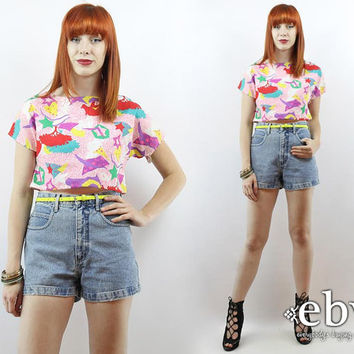 Vintage 80s Geometric Shapes Crop Top S M L Cropped Top Midriff Top Cropped Shirt Cropped Blouse Summer Top Graphic Crop Top 80s Crop Top