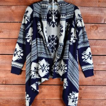 aztec waterfall cardigan | navy