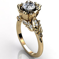 14k yellow gold diamond unusual unique flower engagement ring, bridal ring, wedding ring ER-1080-2