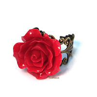 Rocket Red Rose Ring by LizHutnick on Etsy