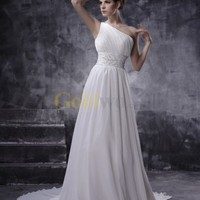 Fabulous White Chiffon One Shoulder Sweep Wedding Dress