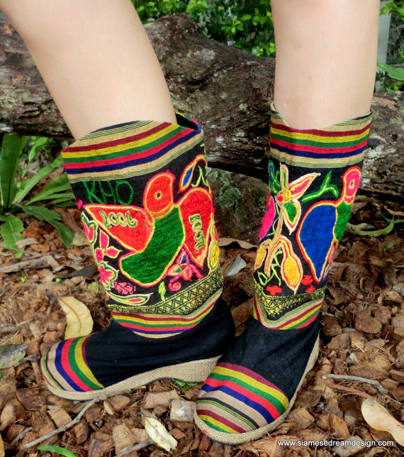 Embroidered Mid Calf Vegan Boots In Colorful by SiameseDreamDesign