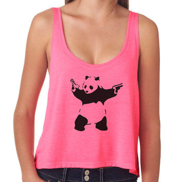 Banksy Panda With Guns Crop Top - Street Art Boxy Tank Top - Many Colors Available - 603