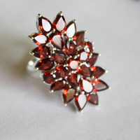 Sterling Garnet Ring Cocktail Cluster  Vintage 1980s  Jewelry Sterling Silver