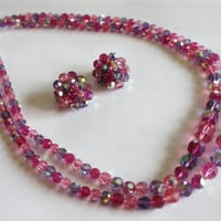 Pink Purple Crystal Necklace Earring Set Glass Bead Vintage 1950s Jewelry