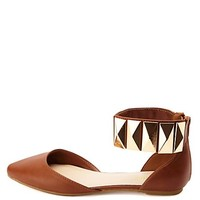 BAMBOO STUDDED ANKLE CUFF POINTED TOE FLATS