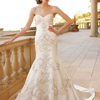 Sweetheart Cathedral Train Satin Mermaid Wedding Dresses