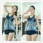 One Piece Flat Angle Maternity Swimwears Set 2Pcs