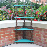 Vintage wood spindle corner shelf hand-painted in Annie Sloan turquoise chalk paint