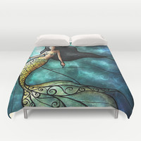 The Mermaid Duvet Cover by Mandie Manzano | Society6