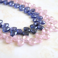 Tanzanite Cubic Zirconia CZ Faceted Oval Briolette Top drilled 7mm 25 beads