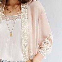 Pins And Needles Lace-Inset Chiffon Kimono Jacket - Urban Outfitters