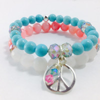 Peace Yoga Stack, Gemstone Bracelets, Peace Sign Charm Bracelet, Yoga Stack, Healing Stack: Chalk Turquoise, Rose Quartz, Pink Jade